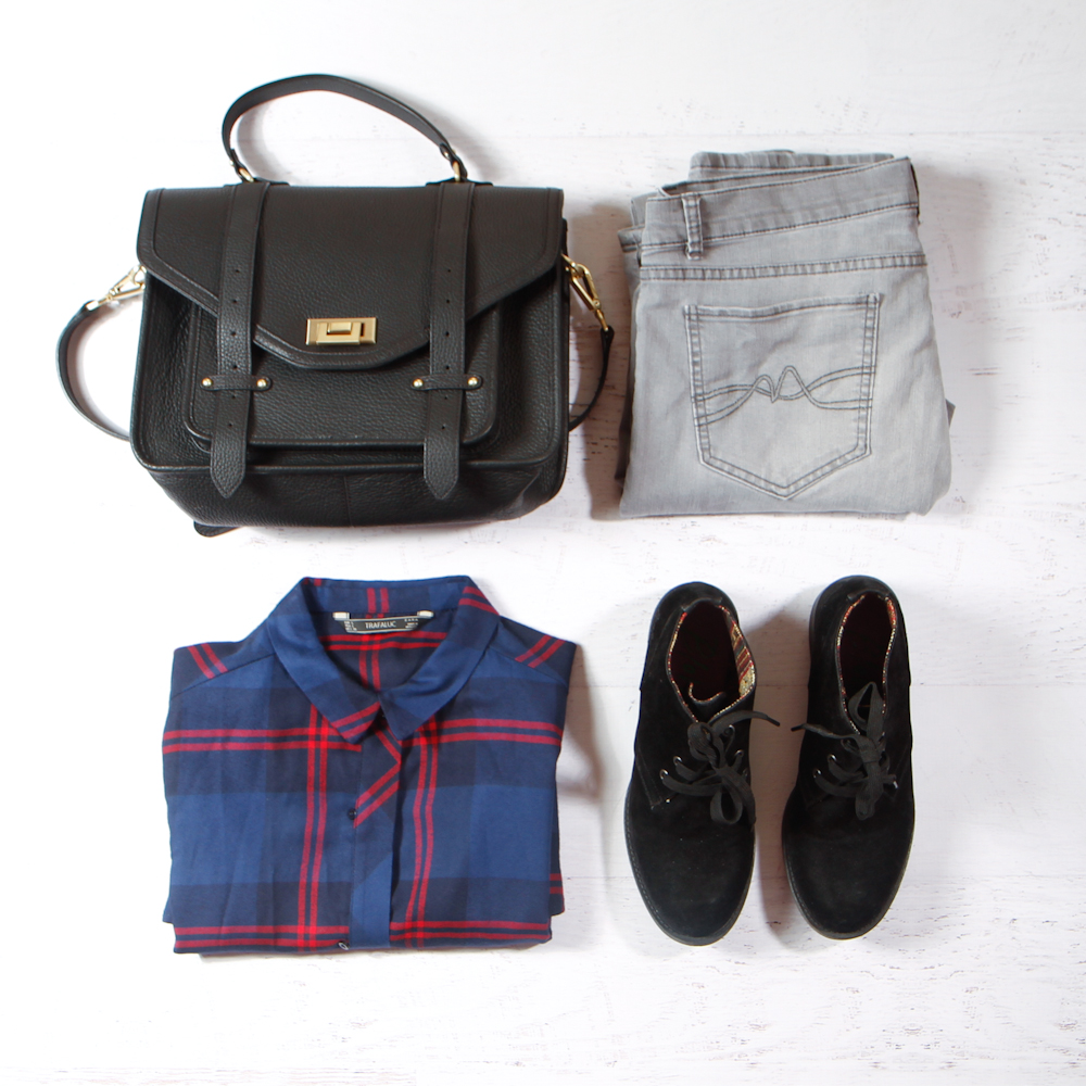 Sunday : Super Relaxed Outfit    :The Look :    Fancy Schmancy:   Engineered Garmets Flannel Shirt  +  Twisted Seam Jeans  +  Philip Lim Pasli Satchel  +  Luxury Rebel Boots    Livin On a Prayer :   Forever 21 Plaid Shirt  +  Citizens Of Humanity Avedon Jeans  +  GiGi NY Stachel   +  Lucky Brand Basel Booties