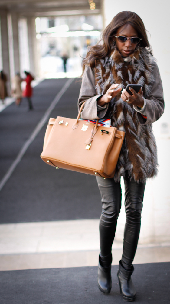 Hermes Bag // Fur Vest :  Michael Kors