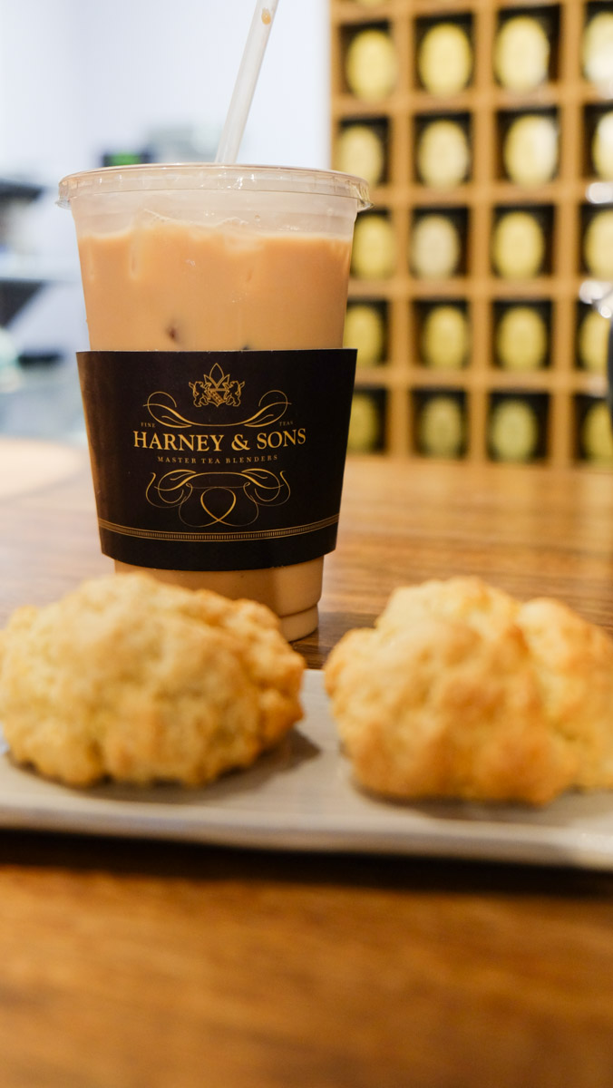 Scones and my new favorite iced chai from Harney & Sons. They have a quaint little spot in their store where you can have afternoon tea or get lost by yourself in a good book.