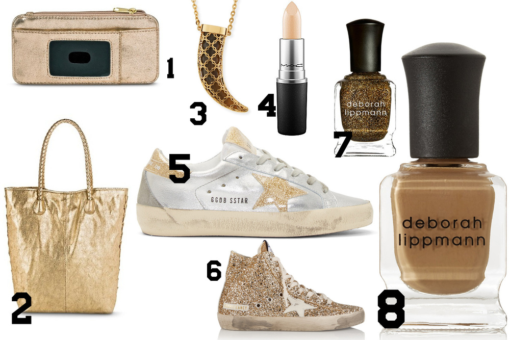 1: Slim Fit Credit Card Holder Wallet // 2:  Slouchy leather tote  // 3: Tory Burch Babylon Horn Pendant Necklace // 4: MAC Lipstick // 5: Golden Goose Distressed Superstar // 6: Golden Goose High-Top Sneakers Sneakers // 7:  Deborah Lippmann Nail Polish  // 8: Deborah Lippmann Nail Polish