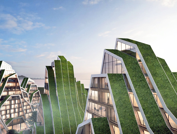 Big 39 s hualien residences look like gigantic green roofed for Concept of housing in architecture
