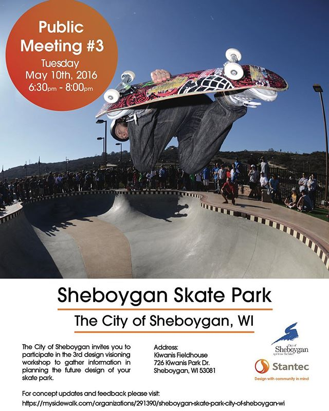 Hey #sheboygan the third and final #skatepark meeting is coming up! Let all your friends know and plan to be there!! This is a very important meeting that will decide what the future of our park looks like so make it a priority!! @revboardshop #skateboardingisfun #wisconsin