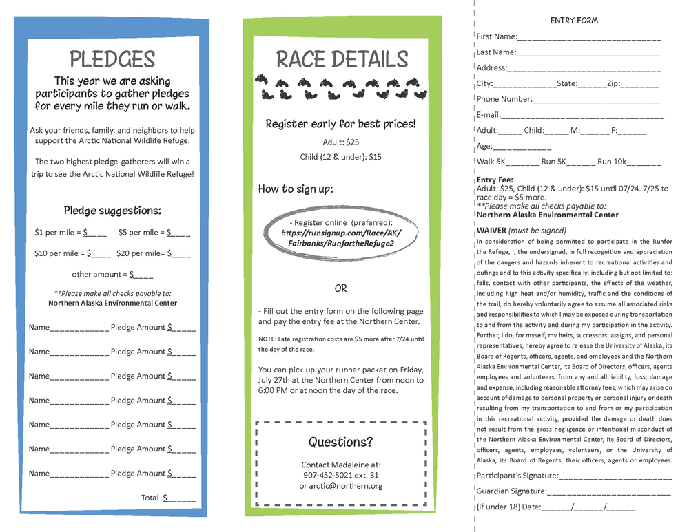Run for the Refuge Trifold Brochure