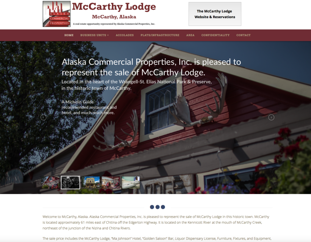 Website Representing the Sale of McCarthy Lodge