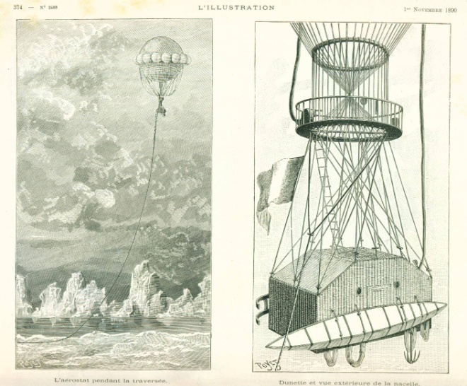 Figure 2: Poyet, «Projet d'une traversée du pole Nord en ballon» from L'illustration no. 2488, p. 374, 1er novembre, 1890