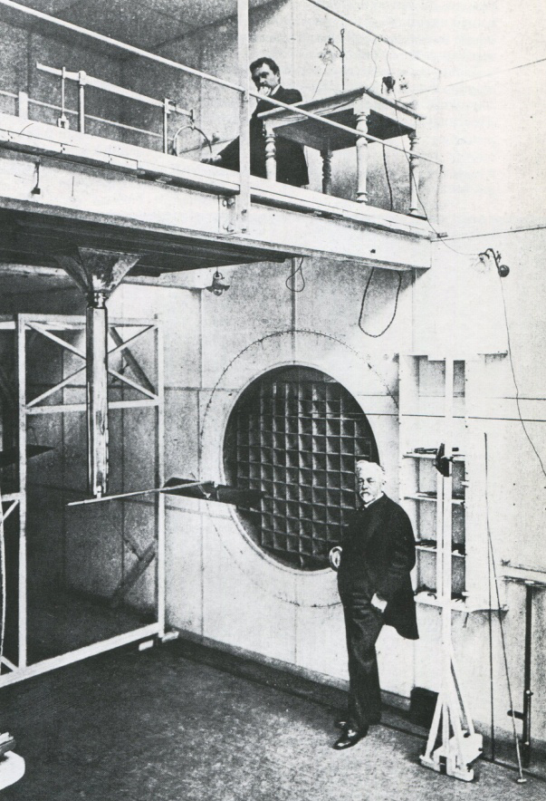 Figure 6: Gustave Eiffel in the experimental chamber of his aerodynamic laboratory, photogravure, reproduced in Loyrette,Gustave Eiffel, p. 209.