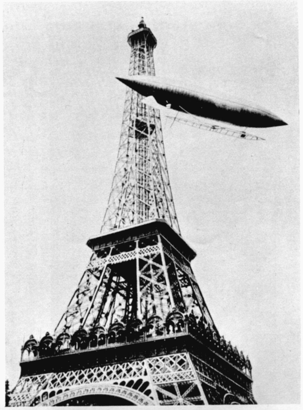 Figure 7: Alberto Santos –Dumont circling the Eiffel Tower. Reproduced in Gustave Eiffel, La tour Eiffel en 1900, p. 263.