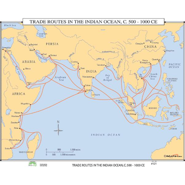 Figure 3- Map of maritime trade routes, ca. 500 – 1000 CE
