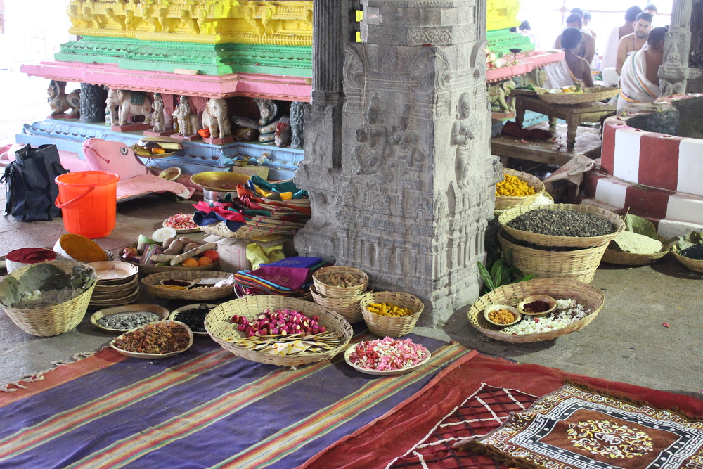 Figure 18- Kamakshi Amman Temple, Kanchipuram, Offerings prepared for the fire pit during Sahasra Candi Yajña, July 2014