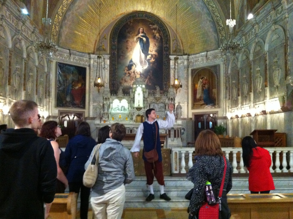 Inside the Chapelle de Notre-Dame-de-Bonsecours (group shot with chapel guide in period costume)
