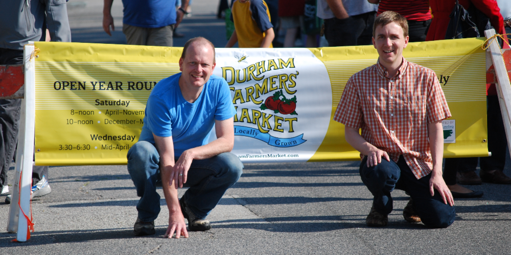 Steve Feller, left, and Scott McCain, right, at the Farmers Market (taken with a NIkon D60)