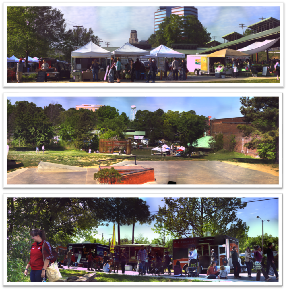3 of our shots from the Farmers Market trip, top is the market up close, middle is the far-off view from the hill by the skate park, and the bottom is a close-in view of where the food trucks set up at. Click on it to get to our ZoomGallery where you can try zooming in one of the pictures.