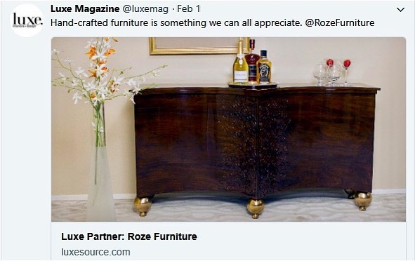 Overheard on Twitter. Thank you @luxemagazine #rozefurniture
