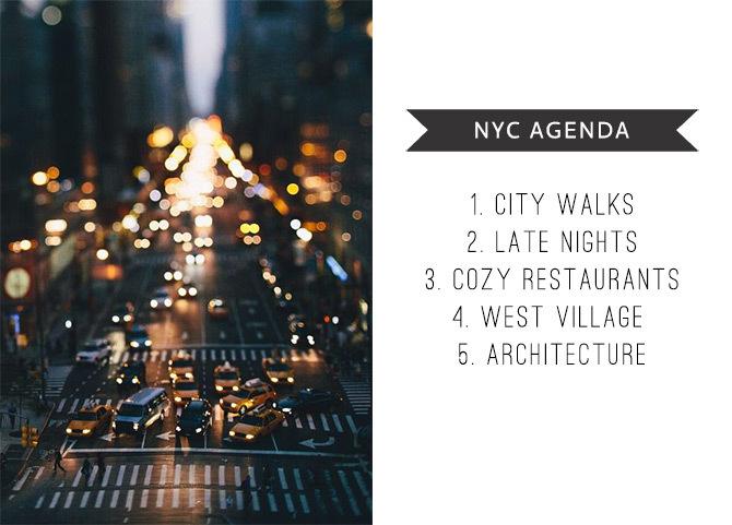My NYC Agenda
