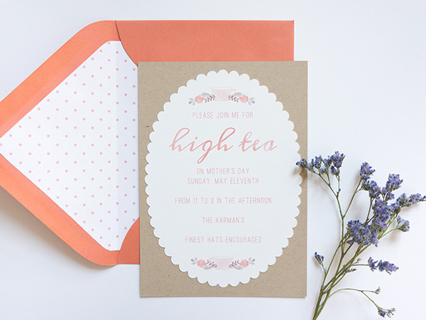 Mother's Day High Tea invites from Evermore Paper Co.
