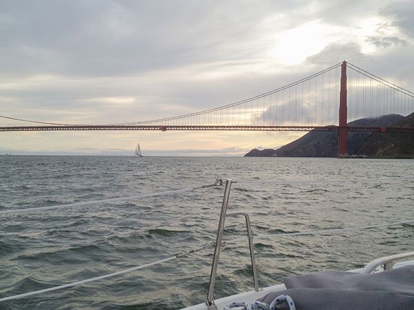 Sunset sail with Captain John Yelda under the Golden Gate Bridge