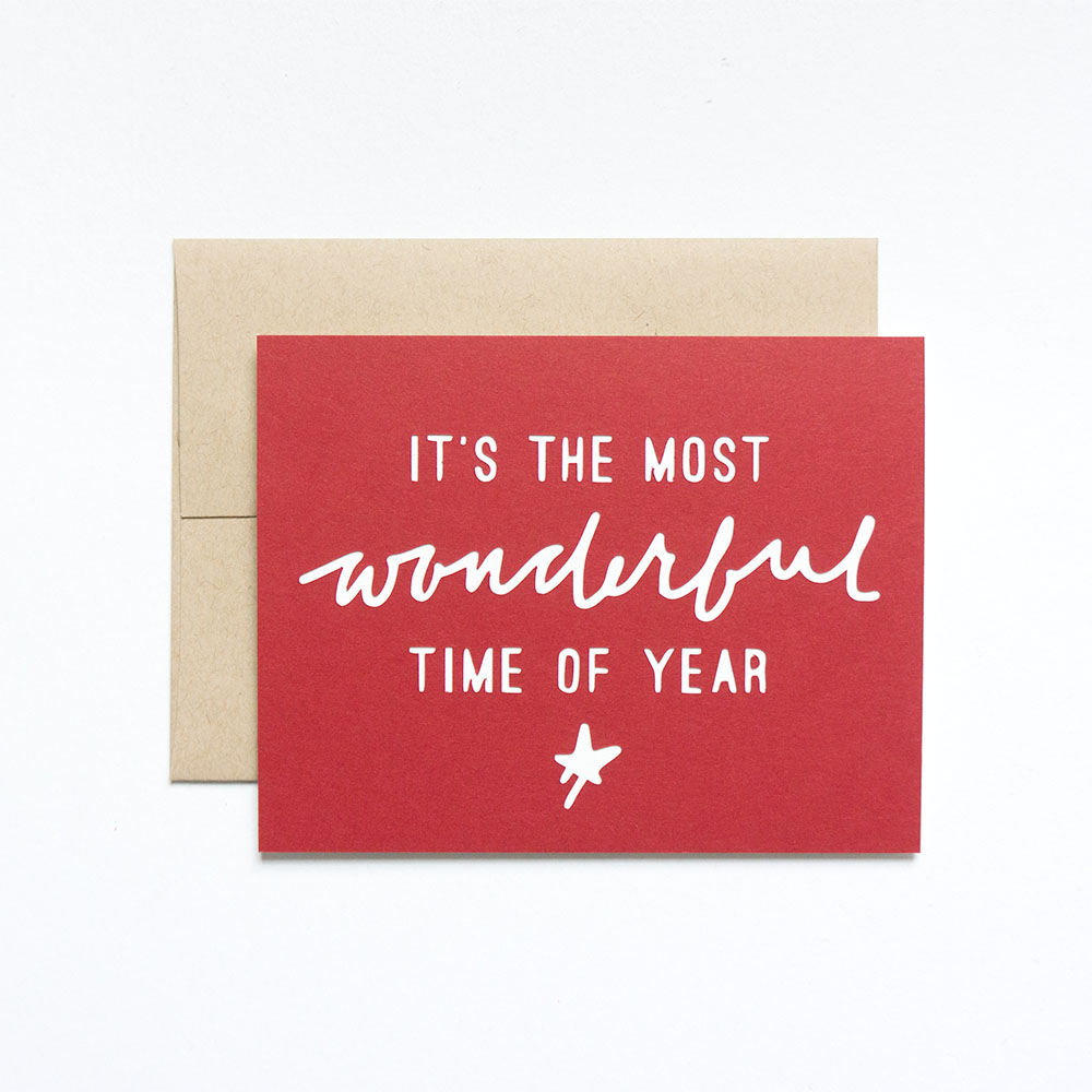 Most Wonderful Time Holiday Greeting Card // Evermore Paper Co.