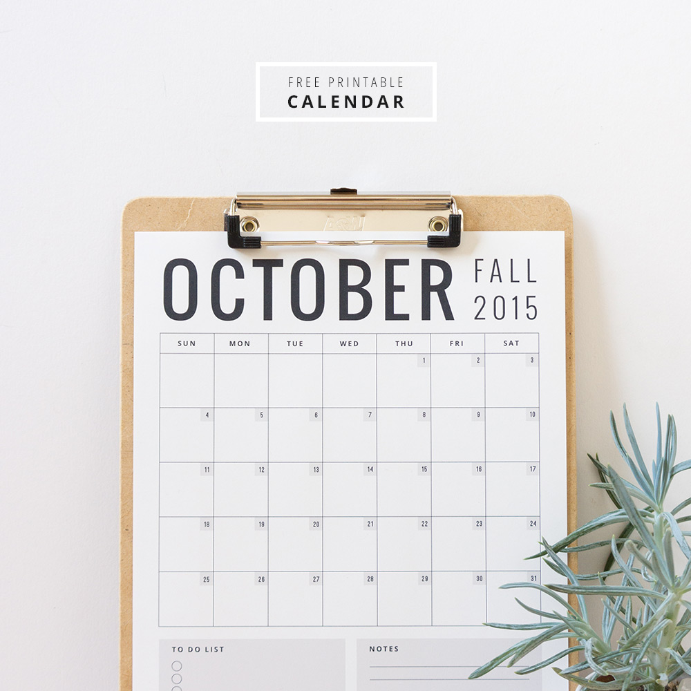 Printable Calendar via Evermore Paper Co.