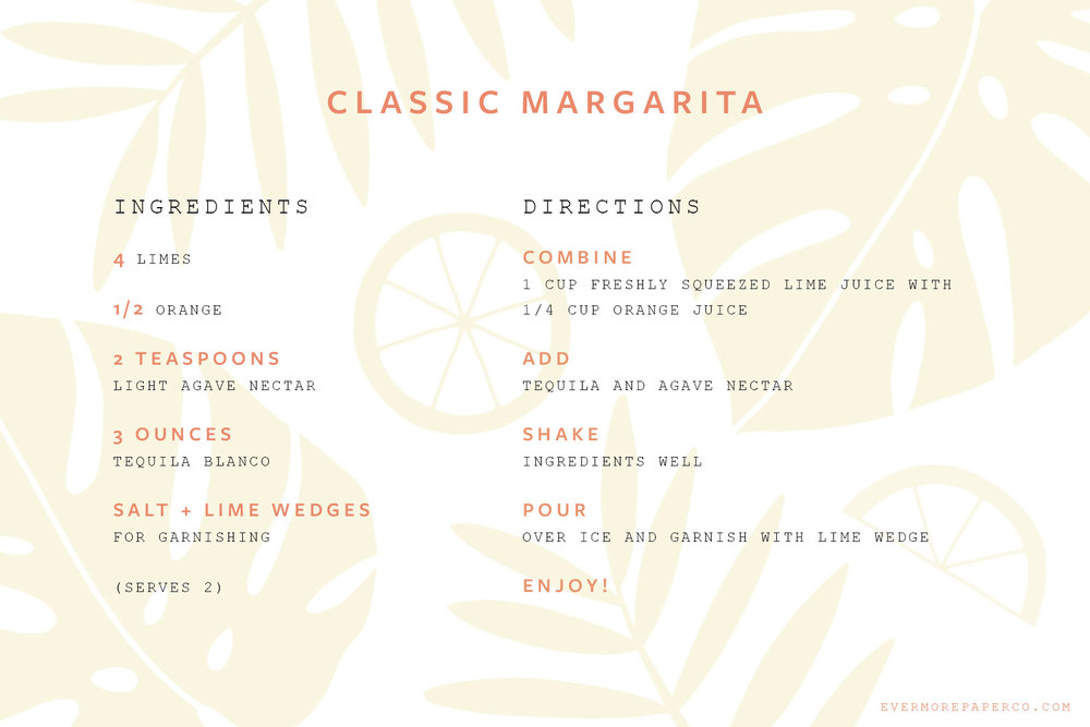 Classic margarita recipe card download from Evermore Paper Co.