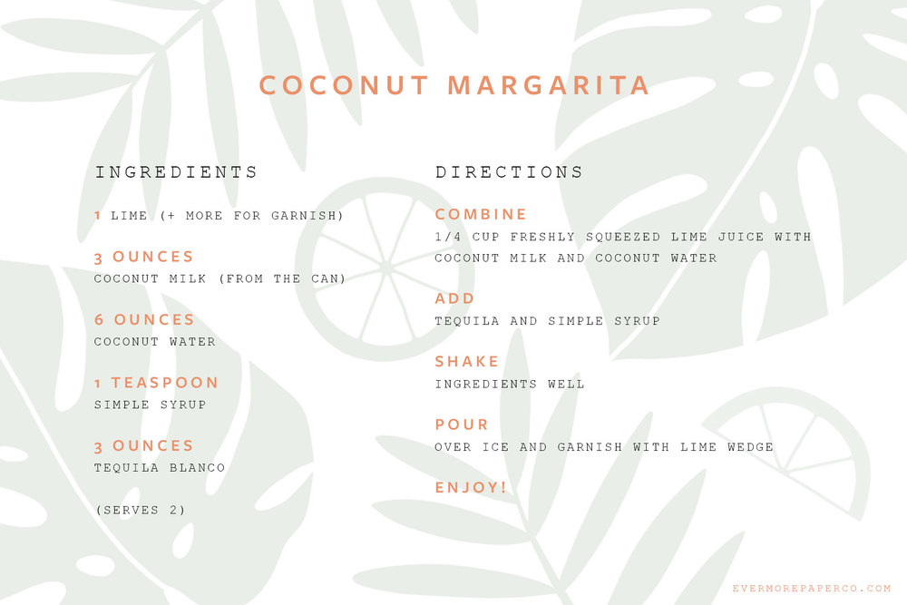 Coconut margarita recipe card download from Evermore Paper Co.