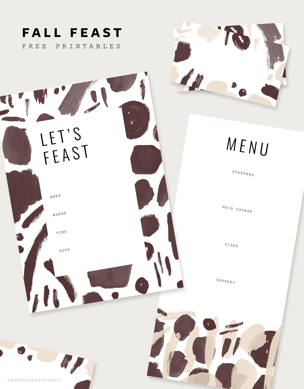 Fall Feast Free Printables | Dinner invite, menu & place cards by Evermore Paper Co.