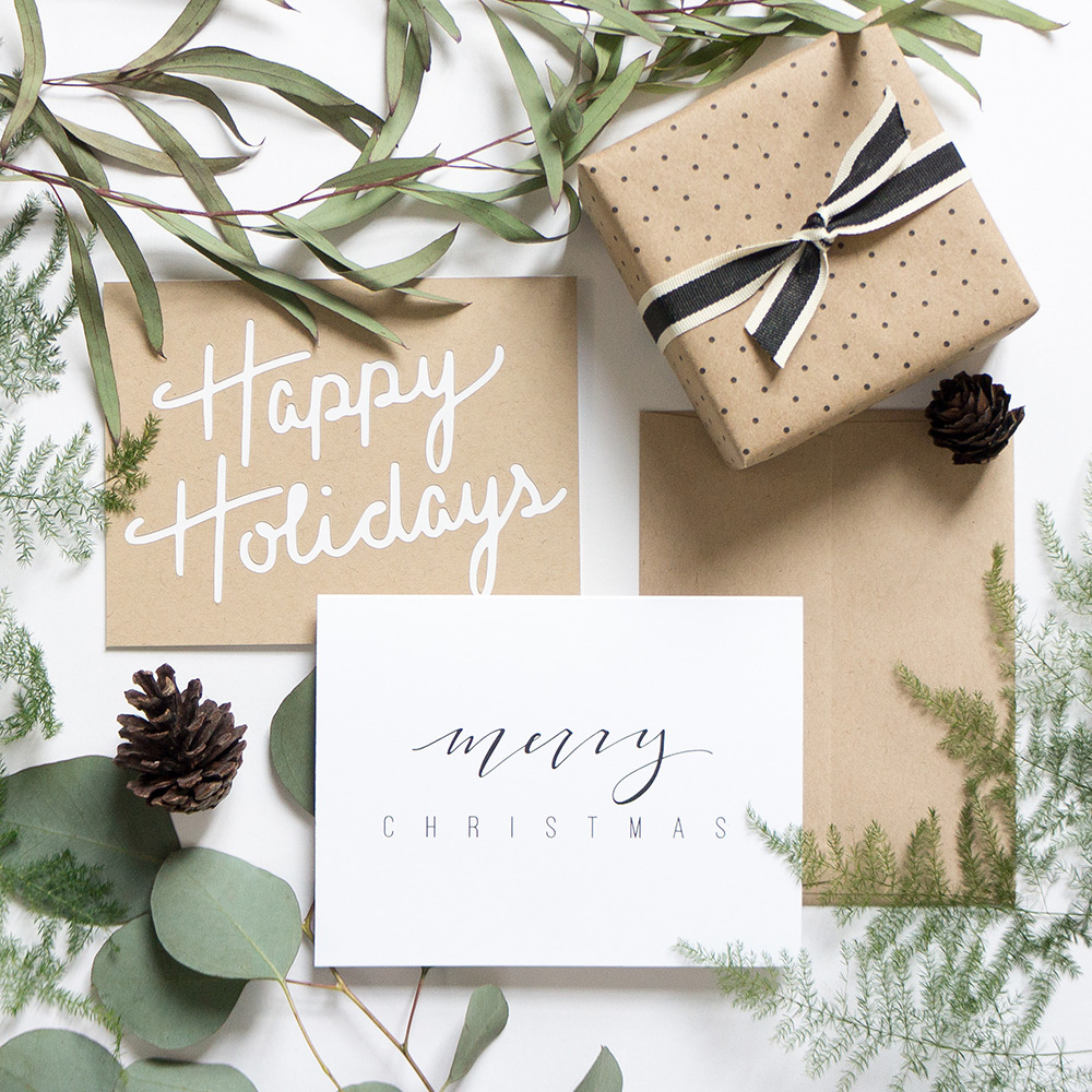 minimal holiday cards from evermore paper co.