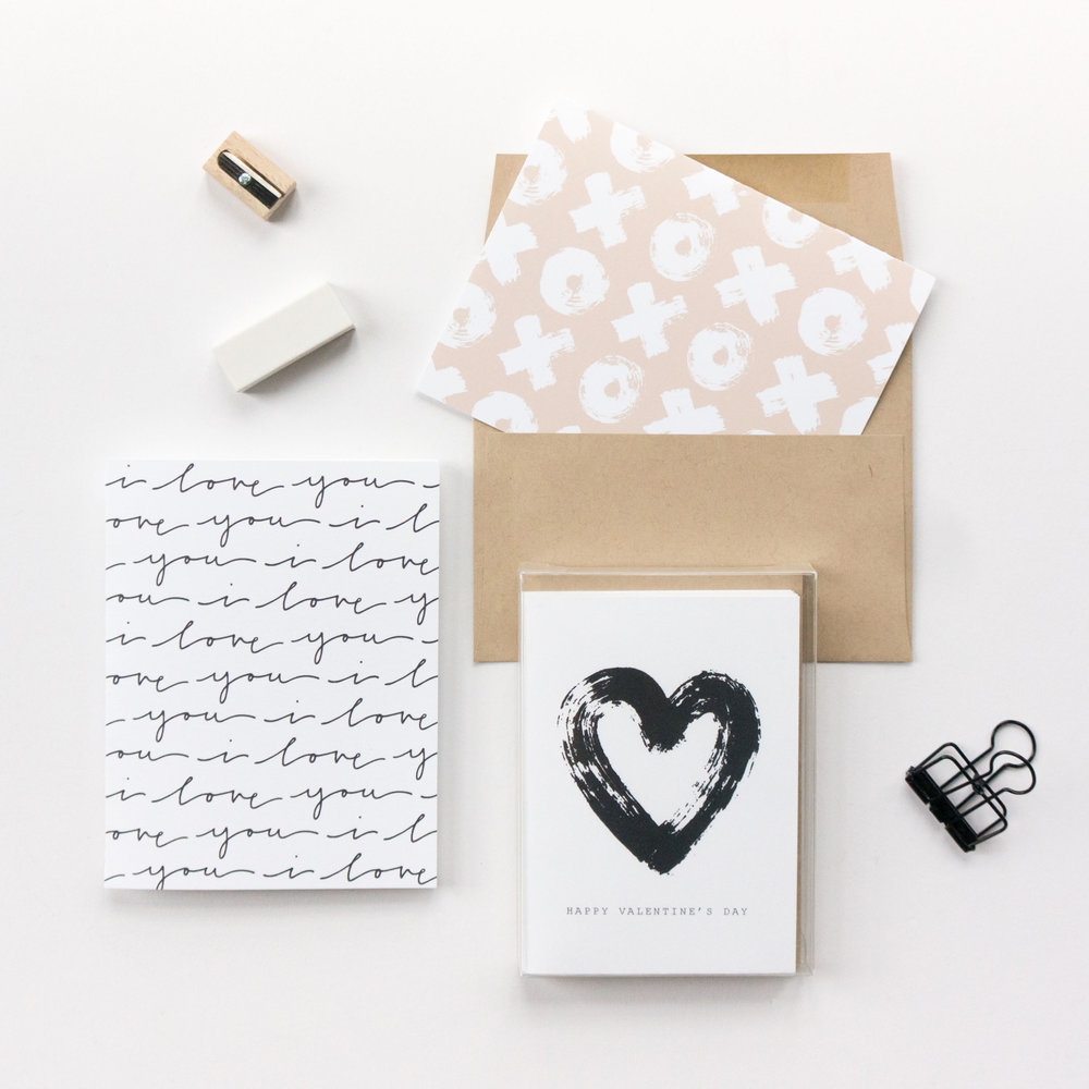 Simple and beautiful Valentine's Day cards from Evermore Paper Co.