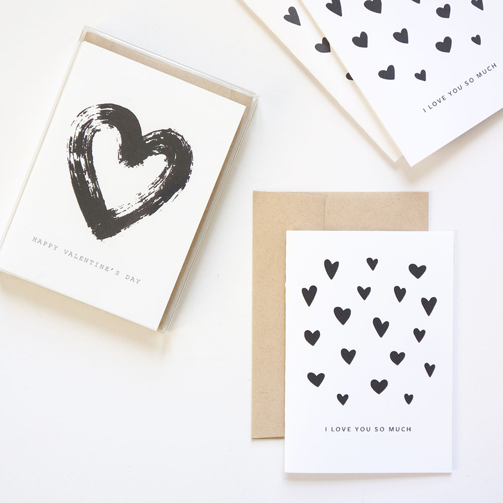 Minimal Valentine's Day cards from Evermore Paper Co.