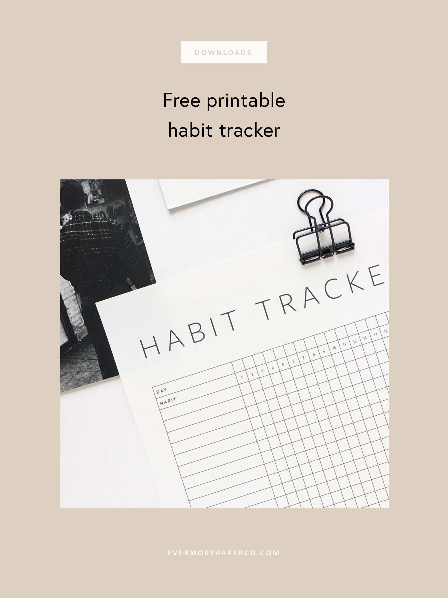 image about Daily Habit Tracker Printable called Totally free Printable Pattern Tracker Evermore Paper Co.