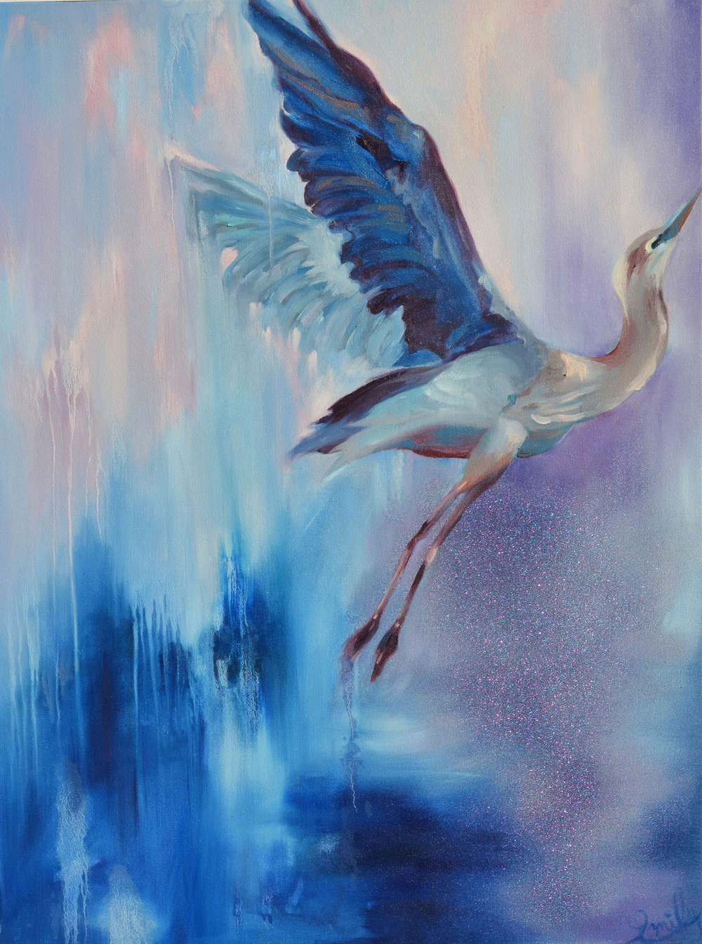 'Silver Heron', oil on canvas - SOLD