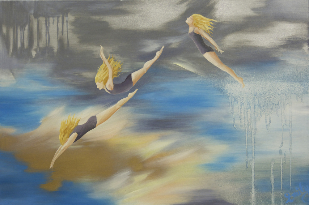 'Eastern Dive', oil on canvas