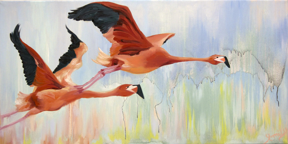 'Flight South', oil on canvas