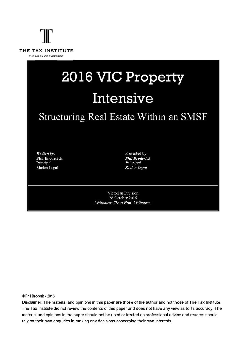 Structuring Real Estate within an SMSF 3 November 2016