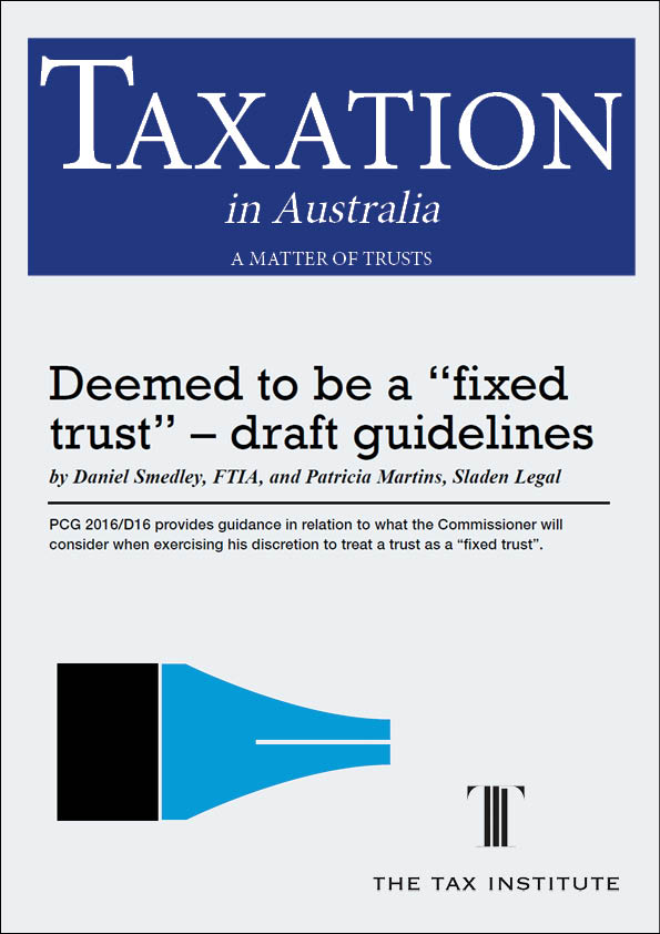 "Deemed to be a ""fixed trust"" - draft guidelines 18 April 2017"