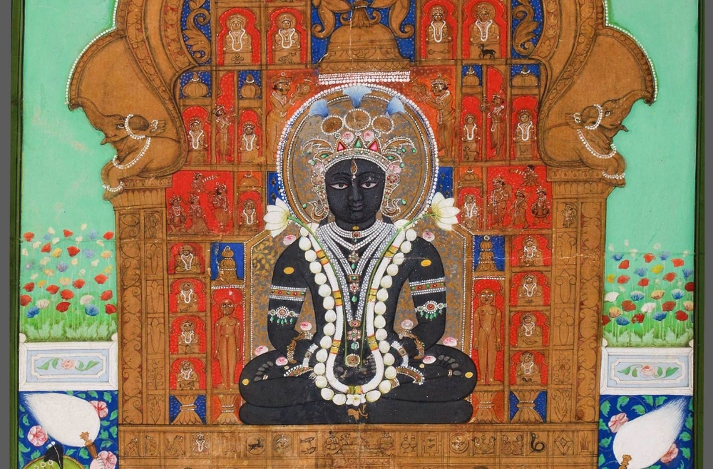 Adinatha Enthroned. Western India, possibly Jodhpur. Ca. early-mid 19th century. Mineral pigments on paper. 17 ⅛ x 11 ¼ in (43.5 x 28.5 cm). Shraman Foundation purchase, 2013. Accession number 2013.4.