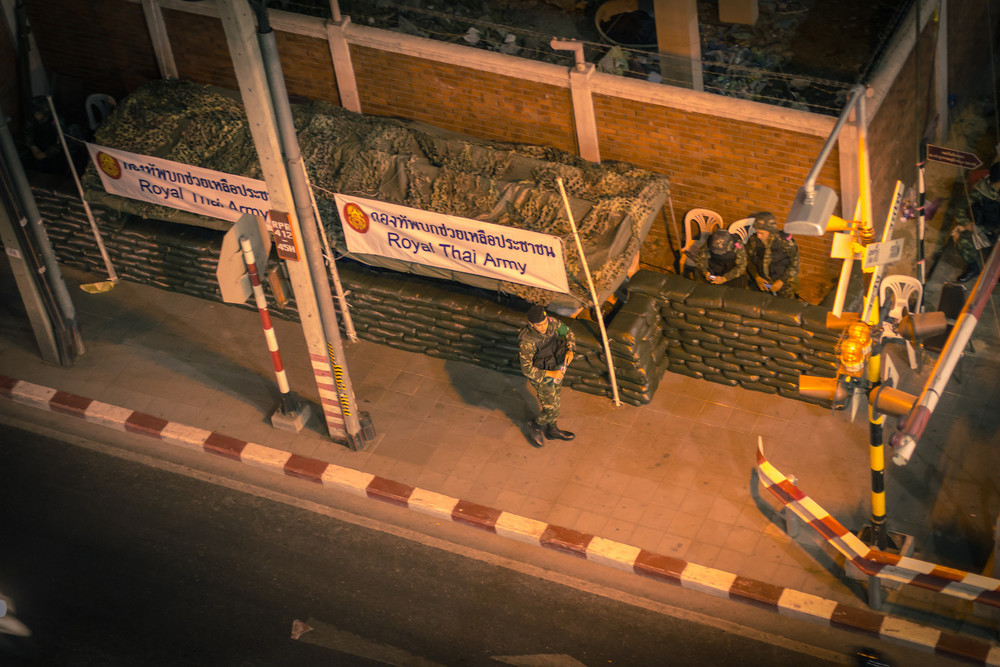 A view of the Thai Army from above on the day the Emergency decree is invoked in Bangkok