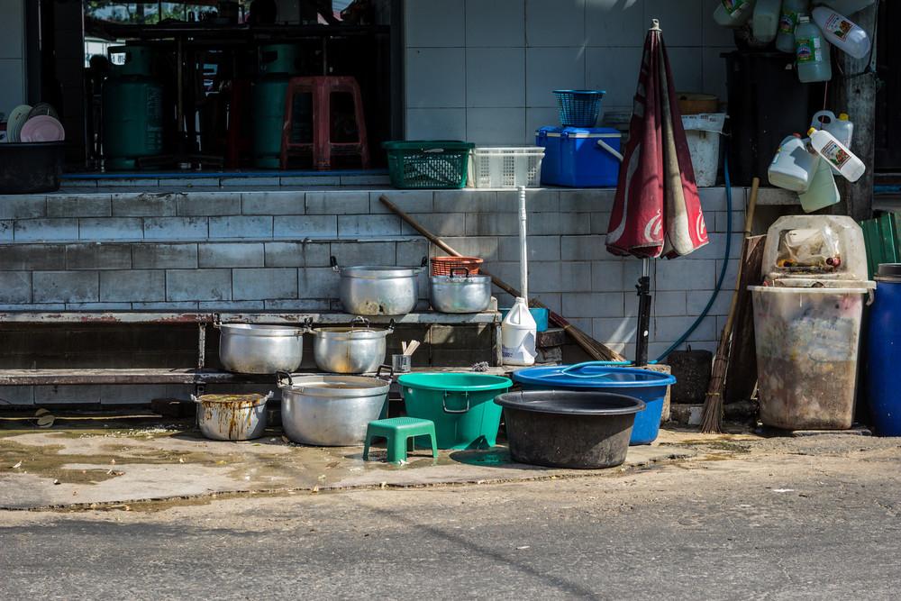 Local restaurant wash station.