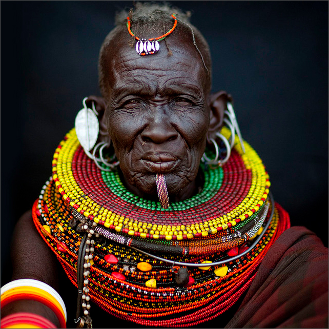 Turkana old woman with labret, Kenya.   Photo credit:  Eric Lafforgue