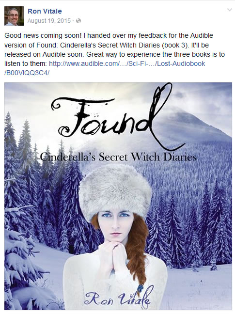 Example of a tease to let my readers know that the Audible version of Found was coming soon.
