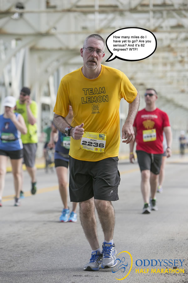 Me running the 2016 ODDYSSEY half-marathon in 82 degrees heat and not feeling so great.