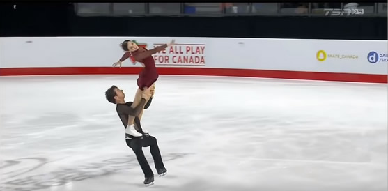 "Tessa Virtue and Scott Moir free dance to ""Moulin Rouge"" (Image courtesy of TSN)"