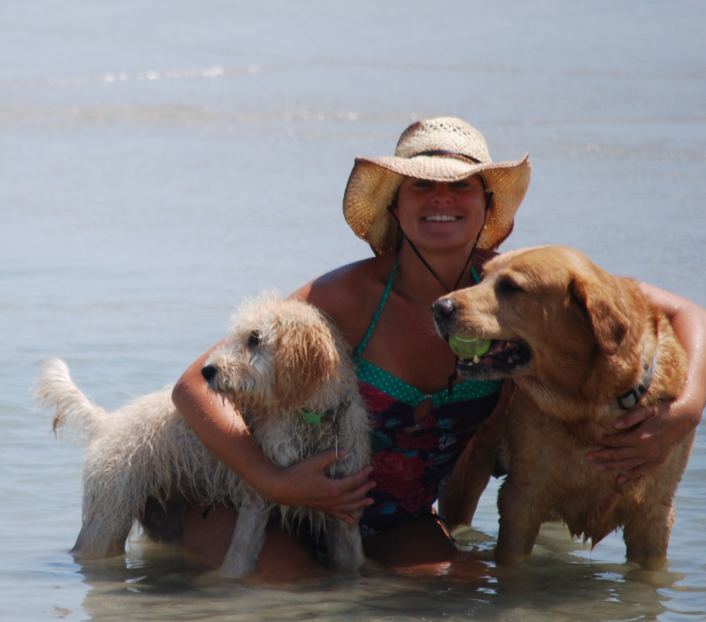 At the Beach with Belle and Buddy in Surf City, Topsail Island, NC