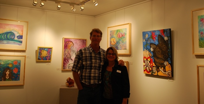 In my exhibit at SeaFair with my wonderful husband & fellow teacher, Bob.  The MegaYacht was docked in Morehead City for the weekend art show as part of the NC Seafood Festival.  It was a great experience to be a part of.  We met a lot of great artists and art lovers.