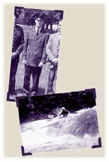 Past Lives    top ,1968USAF 2ndLt.Mettler  bottom, 1976HotDogMettler shootswhitewaterat  WolfcreekWilderness School
