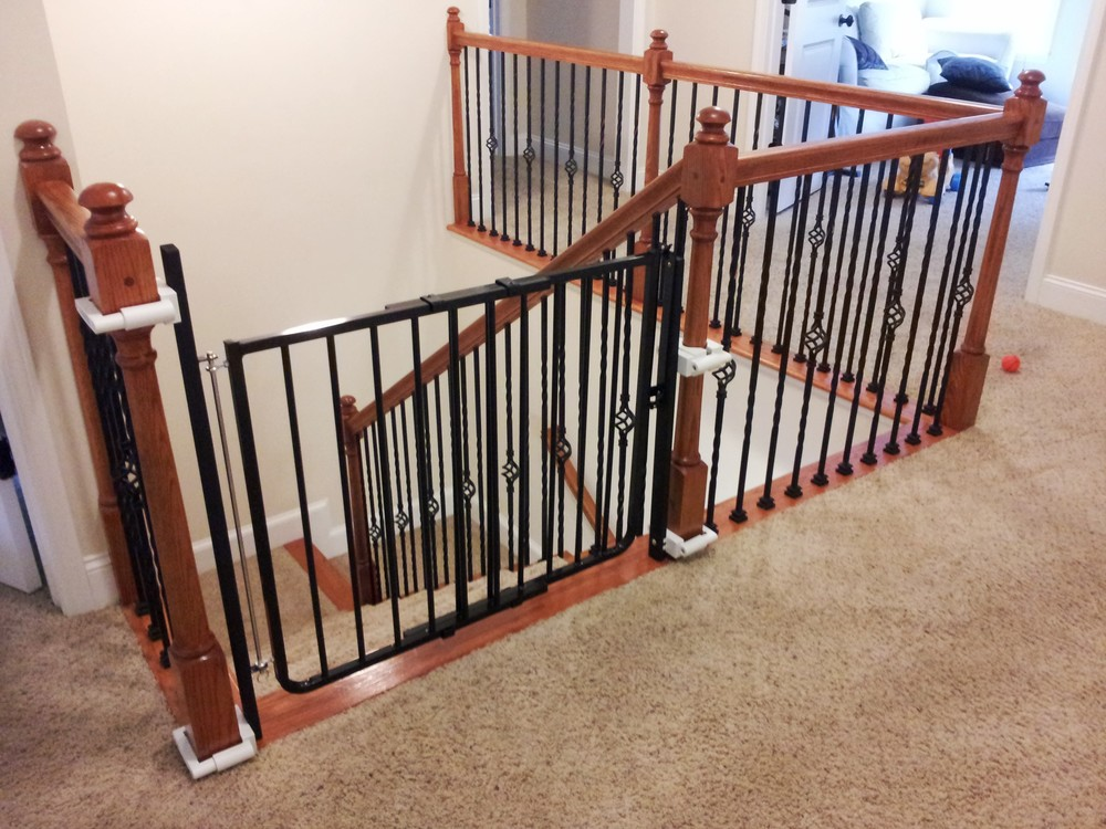 Stair Gate installed using no drill brackets
