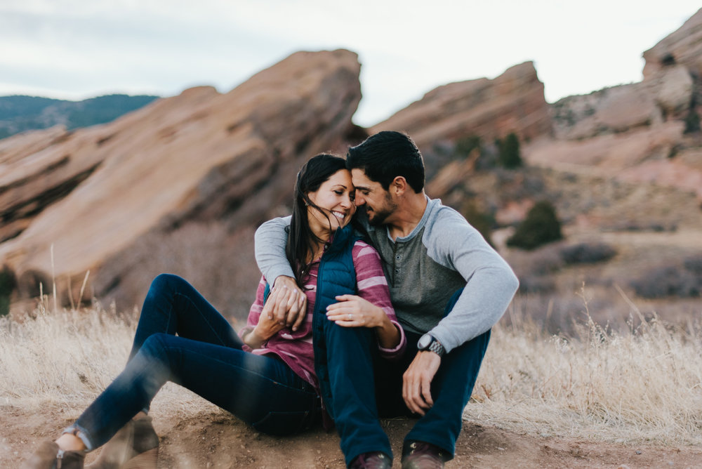 Angela and Evan flew in from California to go hiking around at Red Rocks Park and Amphitheater and get their engagement pictures taken. We hiked around the Trading Post trail and the Geological Overlook Trail. It was a warm February day.