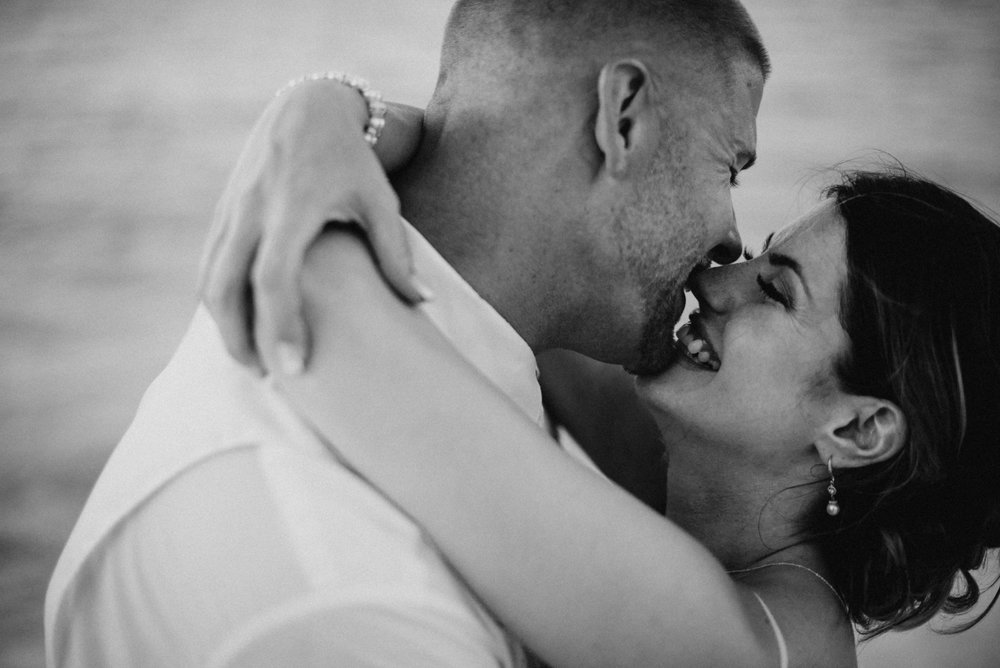 I love this close up bride and groom image. You could really feel Julia and Tony's love. They are standing in front of the ocean here, enjoying that just-got-married high. They invited all of their friends to Mexico for a destination elopement in Cancun.