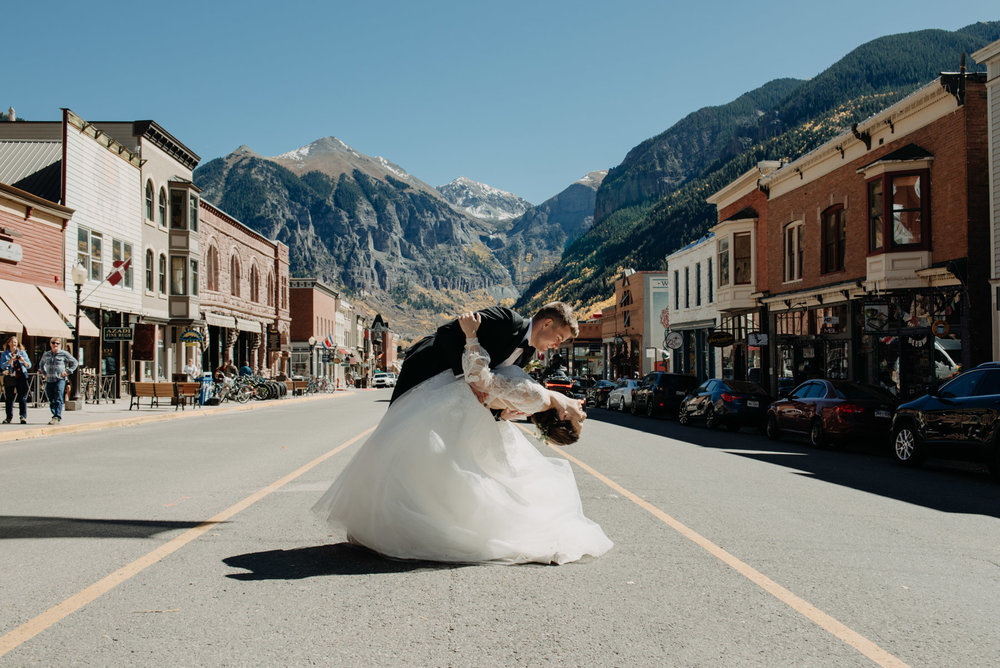 Elyse and Stefan wanted bride and groom portraits in downtown Telluride, and I could not be more thrilled. I love how Stefan dipped her here for a photo. Telluride is an amazing spot to have a destination wedding!