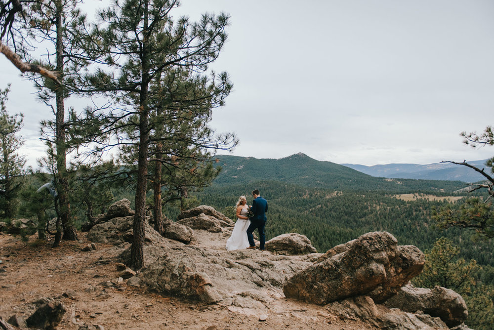 Britnee and Alex eloped in Corwina, about 35 minutes from Denver. Its a tough hike to the top but totally worth the views!