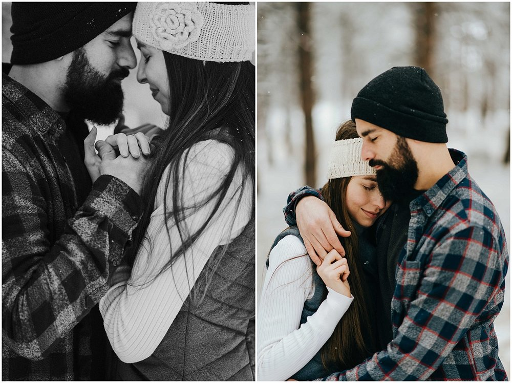 Here are two frames of Nik and Tani side by side. The left is a black and white of them with their foreheads together, holding hands. The right is a snuggly hug, which is totally appropriate given how cold it was during their adventure engagement session!
